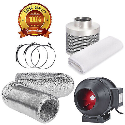 4  Extraction Fan Carbon Filter Kit Hydroponic Growing Grow Tent Grow Room Clip • 49£