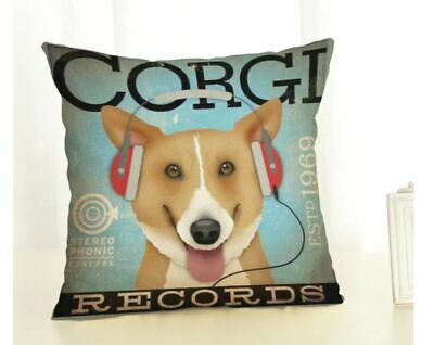 CORGI DOG Retro Advertising LINEN-COTTON CUSHION COVER, RECORDS HEAD PHONES • 5.85£