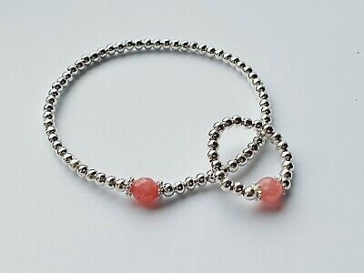 £3.39 • Buy Silver Stretch Chakra Bracelet With Pink Gemstone Bead Love Heal Stacke Gift