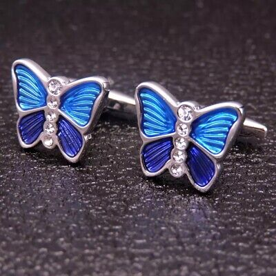 Mens Womens Blue Butterfly Insect Animal Fashion Smart Shirt Cufflinks • 6.99£