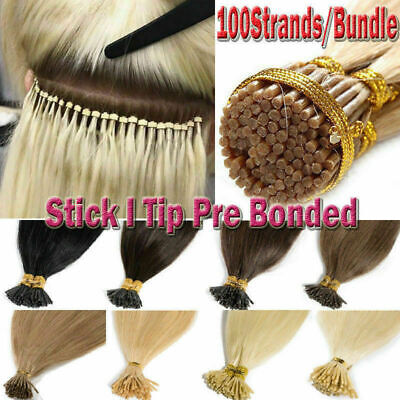 $26.98 • Buy US Stock 20'24''26'' Pre Bonded Keratin Tip I Stick 1g Remy Human Hair Extension