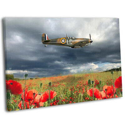 £29.99 • Buy WW2 Spitfire Flying Over Poppy Field Picture Framed Canvas Art Print