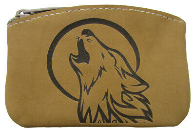$14.95 • Buy New Leather Engraved Howling Wolf Zippered Coin Pouch Change Purse USA Made