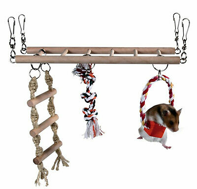 Trixie Hamster, Mouse, Gerbil, Cage Hanging Suspension Bridge, Ladder, Toy, • 9.69£