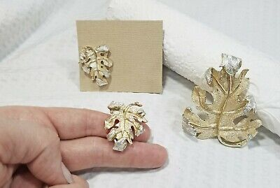 $19.51 • Buy Vintage SARAH COVENTRY Gold And Silver Tone Curled Leaf Brooch And Earring Set