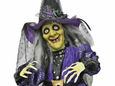 $ CDN78.43 • Buy Standing Animated Witch Hat Halloween Prop Decoration Talking Purple Haunted New