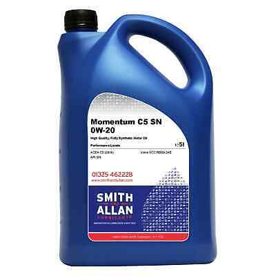 0W-20 Fully Synthetic Engine Oil ACEA C5 API SN Volvo VCC RBS0-2AE 5 Litre • 19.99£