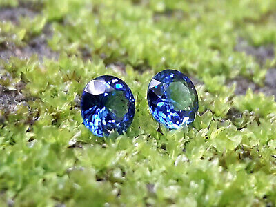 0.58 Ct Ceylon Round Cut Natural Unheated Cornflower Blue Pair Sapphire Vvs  • 200$