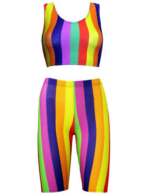 Funky Rainbow Multi Striped Clown Crop Top Cycling Shorts Co-ord 2 Piece Set • 22.49£