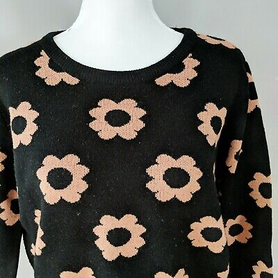 $ CDN35 • Buy Coincidence And Chance Anthropologie Black Orange Floral Sweater Acrylic Sz L