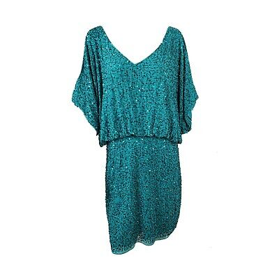 $39.99 • Buy Aidan Mattox Sequined Cold Shoulder Dress Cocktail Party Turquoise Size 12