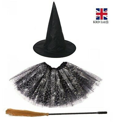 Girls HALLOWEEN WITCH COSTUME Kids Fancy Dress Outfit Childrens Party Witches UK • 9.10£