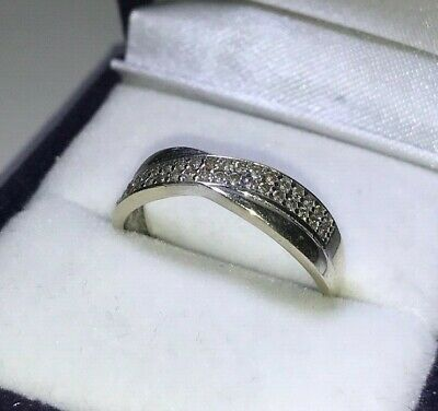 9ct White Gold Cubic Zirconia Crossover Eternity Ring Size O UK Hallmarked • 135£