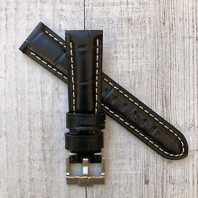 Black Leather Tang Buckle Watch Strap Band 20mm FOR Omega Seamaster Planet Ocean • 19.99£