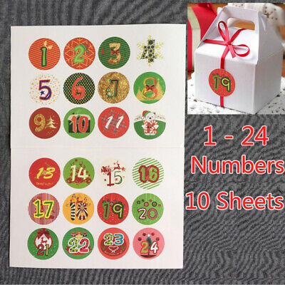 £2.99 • Buy 120PCS Christmas Advent Calendar Stickers Numbers Gift Bag Labels Seals Craft