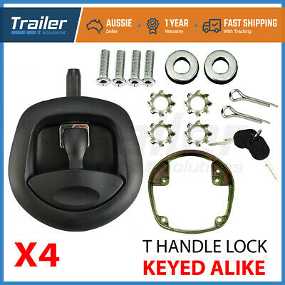 AU190 • Buy X4 Black Whale Tail T Handle Lock Latch/Compression Lock Trailer Ute Toolbox