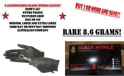 AU29 • Buy 100Pc Black Disposable Mechanic Nitrile Gloves Tattoo Latex Powder Free Workshop