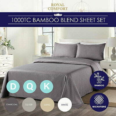 AU47.95 • Buy Royal Comfort Cooling Bamboo Blend Sheet Set Striped 1000 Thread Count Pure Soft