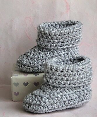Crochet Knitted Unisex Baby Bootees Booties Boots Shoes Newborn Silver Grey • 6.95£