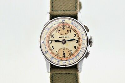 $ CDN594.64 • Buy Vintage Buren Wwii Military Chronograph Manual Wind 32mm Watch