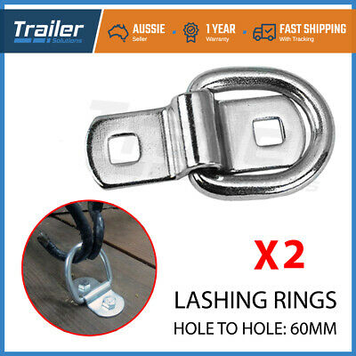 AU20.97 • Buy 2 X Lashing D Ring Zinc Plated Tie Down Points Trailer Centre Hole To Hole 60mm