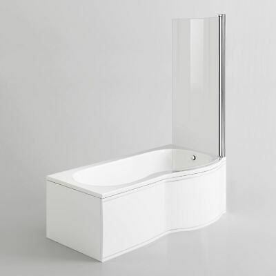 Diamond P Shaped Shower Bath - 1700mm With Screen & Front + End Panel Right Hand • 309.99£