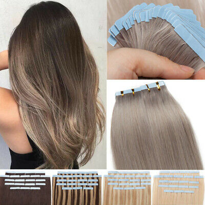 8A Russian Straight Tape In On Remy Human Hair Extensions Ombre Gray 100g Thick • 35.01£