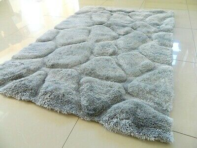 Super Soft Silky Shaggy Thick Heavy Chunky Silver Grey Area Rug Mat Carpet Uk • 79.95£