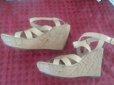 $8.99 • Buy Women's CALLISTO OF CALIFORNIA Beige Wedge Ankle Strap Sandals Sz 9 (EU 40) $90