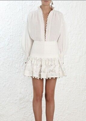 $297.84 • Buy Zimmermann Corsage Embellished Mini Skirt |  Embroidery Cotton / Silk $1,100 RRP