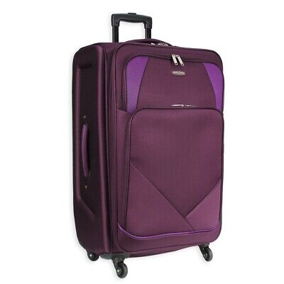 £23.95 • Buy 4 Wheel Spinner Soft Shell Suitcase Luggage Set Carry On  Cabin Travel Bag AR800