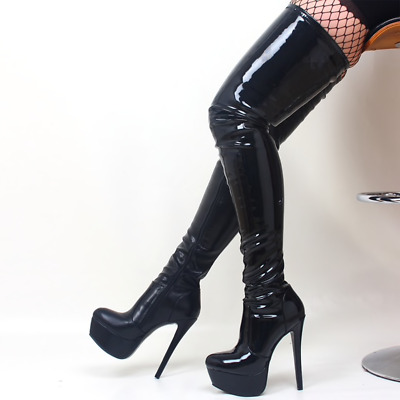 £104.99 • Buy Extreme Fetish Stiletto 6 Inch High Heel Over The Knee PU Patent Boots UK3-12