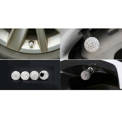 AU5.09 • Buy Car Rhinestone Tire Valve Caps Diamond Shining Air Caps White Auto Accessories