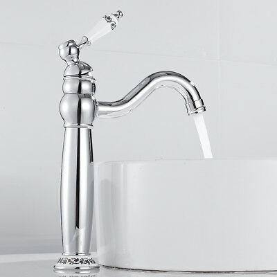 Traditional Faucet Bathroom Basin Mixer Taps Tall Counter Top Chrome Brass Tap • 31.89£