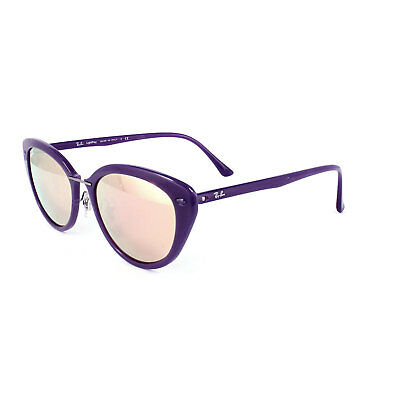 $110 • Buy RAY-BAN TECH LIGHT-RAY CATEYE SUNGLASSES RB4250 60342Y VIOLET COPPER MIRROR 52mm