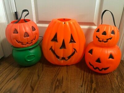 $ CDN79.27 • Buy Vintage Halloween Blow Mold Bucket Lot Pumpkin Cauldron