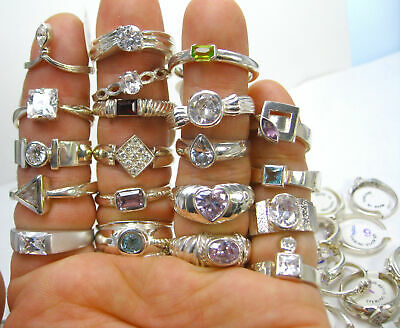 $ CDN72.30 • Buy 50 GRAMS Wholesale Mixed Variety Lot NEW 925 Sterling Silver Approx. 9-15 Rings
