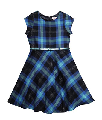 $17 • Buy Sweet Heart Rose Little Girl Short Sleeve Belted Poly Plaid Dress, Teal/Multi, 5