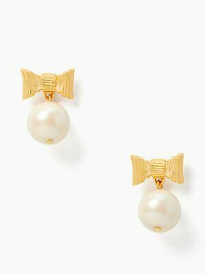 $ CDN42.90 • Buy Kate Spade All Wrapped Up Pearl Earrings BOW DROP DANGLE BRIDAL FORMAL W Pouch