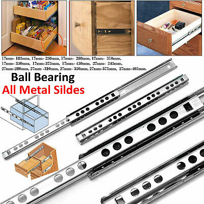 £3.99 • Buy Pair Drawer Runners 17mm & 27mm Groove Ball Bearing All Metal Slides Soft Close