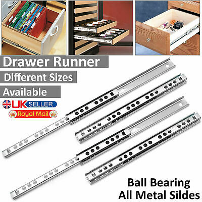 £2.99 • Buy 17mm & 27mm Pair Drawer Runners Groove Ball Bearing All Metal Slides Soft Close