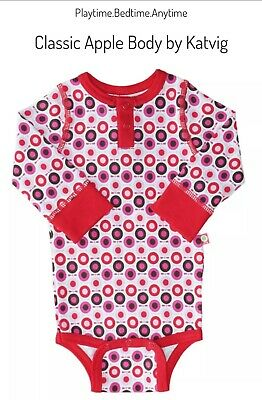 Stunning Apple Body By Katvig Sizes O-12 Mnths - 2 Colours Black Or Red • 12.99£