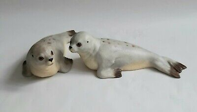Pair Of 1975 Aynsley Fine Porcelain Grey Seal Figurines, Fully  Marked On Base.  • 20£