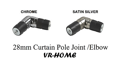 NEW Single Corner 28mm Curtain Pole Joint /Elbow, For Curtain Bay Windows • 9.15£