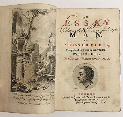 $95 • Buy 1745 Alexander Pope Essay On Man, With Notes By William Warburton