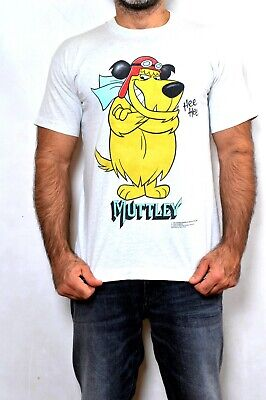 Vintage 90s Wacky Races Muttley Tshirt 1995 Double Side Made ITALY Hee Hee M FAB • 39£