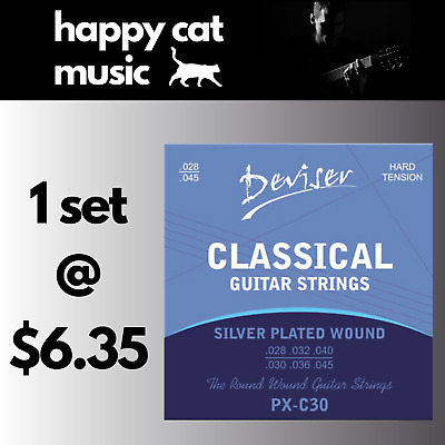 AU6.35 • Buy Set Of Classical Nylon Acoustic Guitar Strings (28-45) Hard Tension FREE POSTAGE