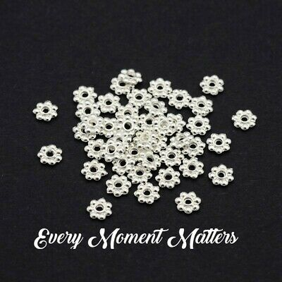 £2.09 • Buy Tibetan Silver 4mm SNOWFLAKE DAISY SPACER BEADS SILVER PLATED 4mm 100/250