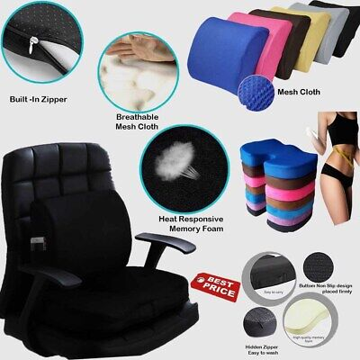 £20.99 • Buy Memory Foam Wedge Car Seat Chair Lumbar Support Cushion Back Pain Height Booster