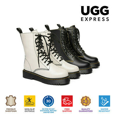AU84 • Buy Ever UGG Ladies Fashion Leather Lace Up Boots Sheila Hi Top Sheepskin Lining